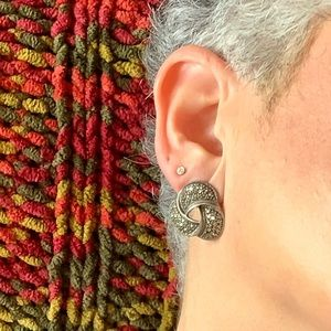 Jewelry - Sterling Marcasite Knot earrings - they GLITTER!